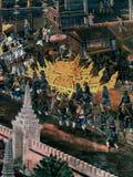 Exterior wall of king palace Bangkok Thailand. Mural paintings on exterior wall of king palace Stock Images