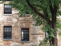 Exterior wall  of old building in the Rocks, Sydney Australia stock image
