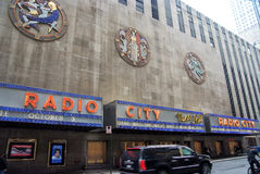 Exterior wall of radio city music hall, new york, usa. New York, USA - November 13, 2008: exterior wall of radio city music hall, theater building, modern Stock Photography