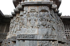 Exterior wall relief carvings on the Hoysaleshwara temple. Halebidu, Karnataka, India which was built in 12th century by hoysala empire Stock Image
