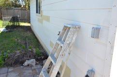 Exterior wall repair Stock Image