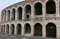Exterior walls of the ancient Roman Arena in Verona city Stock Images