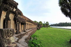 Exterior walls and moat of Angkor Wat Temple Royalty Free Stock Photo