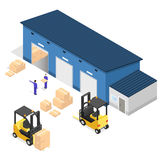 Exterior Warehouse Building Business Delivery. Vector Stock Images