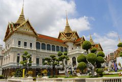Exterior of the Wat Phra Kaew complex buildings in Bangkok, Thailand. Royalty Free Stock Photo