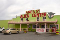 The exterior of a weird gas station at Roswell, America stock photos