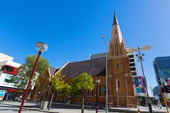 Exterior of Wesley Church, a Uniting Church in the City of Perth. PERTH, AUSTRALIA - FEBRUARY 2018 : Exterior of Wesley Church, a Uniting Church in the City of royalty free stock photo