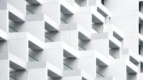 Exterior white concrete pattern wall building Stock Image