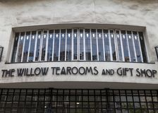 Exterior of the Willow Tea Rooms, Sauchiehall St, Glasgow designed by renowned architect Charles Rennie Mackintosh. Glasgow, UK. Exterior of the Willow Tea Rooms royalty free stock images