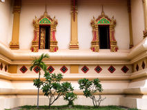 Exterior Windows at Wat Thatluang Neua, Vientiane stock image