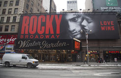 The exterior of the Winter Garden theater, featuring the play Rocky The Musical on Broadway in New York City. NEW YORK - JANUARY 26:The exterior of the Winter Royalty Free Stock Images