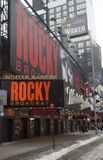 The exterior of the Winter Garden theater, featuring the play Rocky The Musical on Broadway in New York City Royalty Free Stock Photo