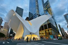 Exterior of the WTC Transportation Hub. On August 24, 2017 in New York City, USA. The main station house, the Oculus, opened on March 4, 2016 Stock Photo