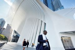 Exterior of the WTC Transportation Hub. On August 23, 2017 in New York City, USA. The main station house, the Oculus, opened on March 4, 2016 Stock Photography