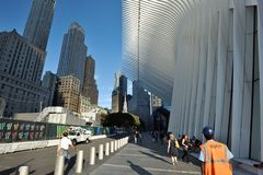 Exterior of the WTC Transportation Hub. On August 24, 2017 in New York City, USA. The main station house, the Oculus, opened on March 4, 2016 Stock Image