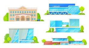 Exteriores aislados edificios modernos de la fachada de la biblioteca libre illustration