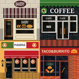 Exteriors icon. Set of vector detailed flat design cafe, restaurants facade icons Stock Image