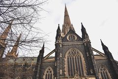 Exteriors of St. Patrick's Cathedral in Melbourne Stock Photography