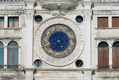 Exteriror detail of the Torre dell Orologio (Clock Tower) in Venice, Italy. Royalty Free Stock Images