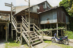 Exteriror of the Kupo Saba longhouse at Annah Rais Bidayuh village in Kuching, Malaysia. Stock Photography