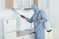 Exterminador In Spraying Pesticide en cocina Fotos de archivo