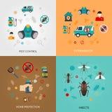 Exterminateur Pest Contro 4 icônes plates Images libres de droits