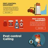 Extermination pest control service banners template design of sanitary domestic exterminate disinfection equipment. Stock Image