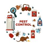 Extermination or pest control service company information poster template for sanitary domestic disinfection. Royalty Free Stock Photo