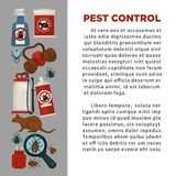 Extermination or pest control service company information poster template for sanitary domestic disinfection. Stock Photos
