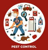 Extermination or pest control service company information poster template for sanitary domestic disinfection. Vector flat design of disinfectant equipment Stock Photos
