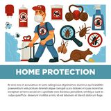 Extermination or pest control service and sanitary domestic disinfection vector flat design poster. Royalty Free Stock Image