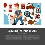 Extermination or pest control service and sanitary domestic disinfection vector flat design poster. Disinfector man with disinfectant liquid or gas spray Stock Photography