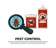Extermination or sanitary pest control disinfection equipment vector flat design poster Stock Photo