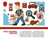 Extermination or sanitary pest control domestic disinfection vector flat design poster Stock Photography