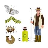 Exterminator with garden pests royalty free illustration