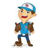 Exterminator killing bug and holding pest sprayer Royalty Free Stock Image