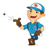 Exterminator killing bug and leaning Stock Photography