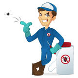 Exterminator leaning on pest sprayer and killing bug Royalty Free Stock Photography