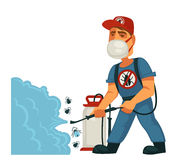 Exterminator in mask sprays chemical substanse against insects Royalty Free Stock Photos