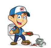 Exterminator or pest control with dying pest Royalty Free Stock Photo