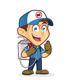 Exterminator or pest control giving thumbs up. Clipart picture of an exterminator or pest control cartoon character giving thumbs up Royalty Free Stock Photos