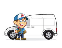 Exterminator or pest control standing in front van. Clipart picture of an exterminator or pest control cartoon character standing in front van Stock Photos