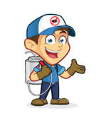 Exterminator or pest control in welcoming gesture. Clipart picture of an exterminator or pest control cartoon character in welcoming gesture Royalty Free Stock Images