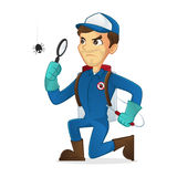 Exterminator searching for bug vector illustration