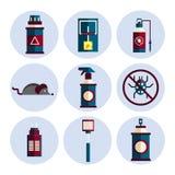 Exterminator service flat icons set Royalty Free Stock Images