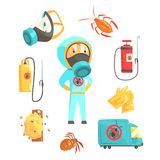 Exterminators of insects in chemical protective suit with equipment and products set. Pest control service cartoon. Colorful Illustrations  on white background Royalty Free Stock Photo