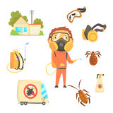 Exterminators of insects in orange chemical protective suit with equipment and products set. Pest control service. Cartoon colorful Illustrations  on white Stock Image