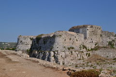 Externa havsväggar, Methoni slott Arkivbilder