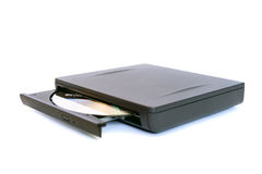 External CD/DVD drive. A simple extenral CD/DVD drive, isolated on white stock photo