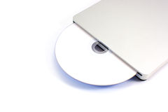 External CD. DVD drive isolated on white background royalty free stock photography